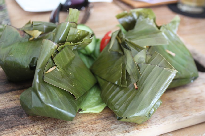 1 Best Balinese Cooking Class in Seminyak Bali - banana leaf