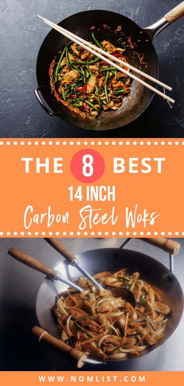 Looking to upgrade your Chinese recipes at home? We did the homework for you and found the best 14 inch carbon steel woks with a flat bottom on the market just for you!  #wok #woks #carbonsteel #steelwok #flatbottomwok #cookingutensils #chinesefod #chineserecipes #chinesecooking #kitchentools #kitchenwoks #kitchenutensils
