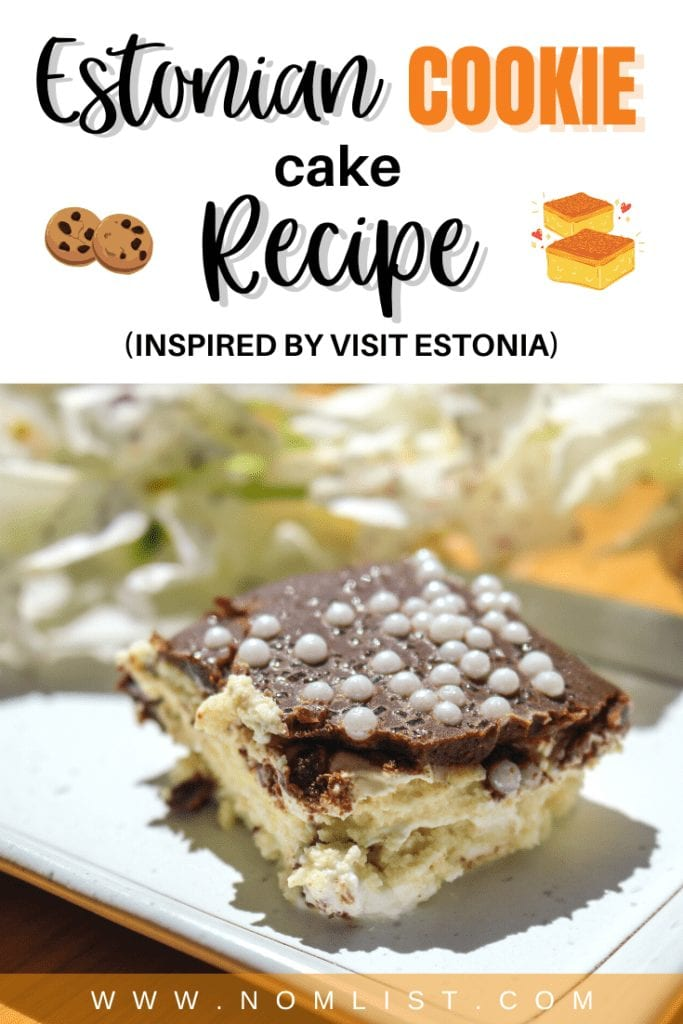 Estonia has so many delicious cuisines to offer. One of the most standout dishes that caught my eye is the Estonian Cookie Cake (Küpsisetort). This decadent dessert is not only memorable to your tastebuds but also extremely easy to make (no baking required!). #estonianfood #estonia #estoniancookiecake #cake #cakerecipe #nobakerecipe #easyrecipe #bakingrecipe #bake #cakes