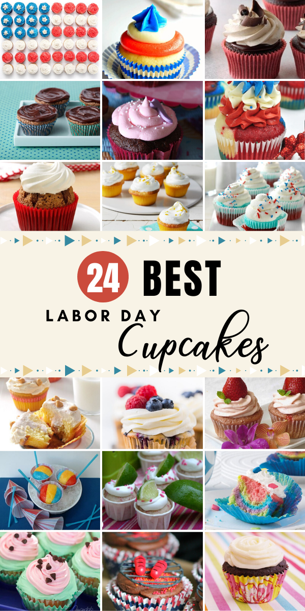 Looking to celebrate with something special on Labor Day? It's time to bake up the best Labor Day Cupcakes. #recipes #roundup #laborday #labordayweekend #labordaycupcakes #cupcakes #baking