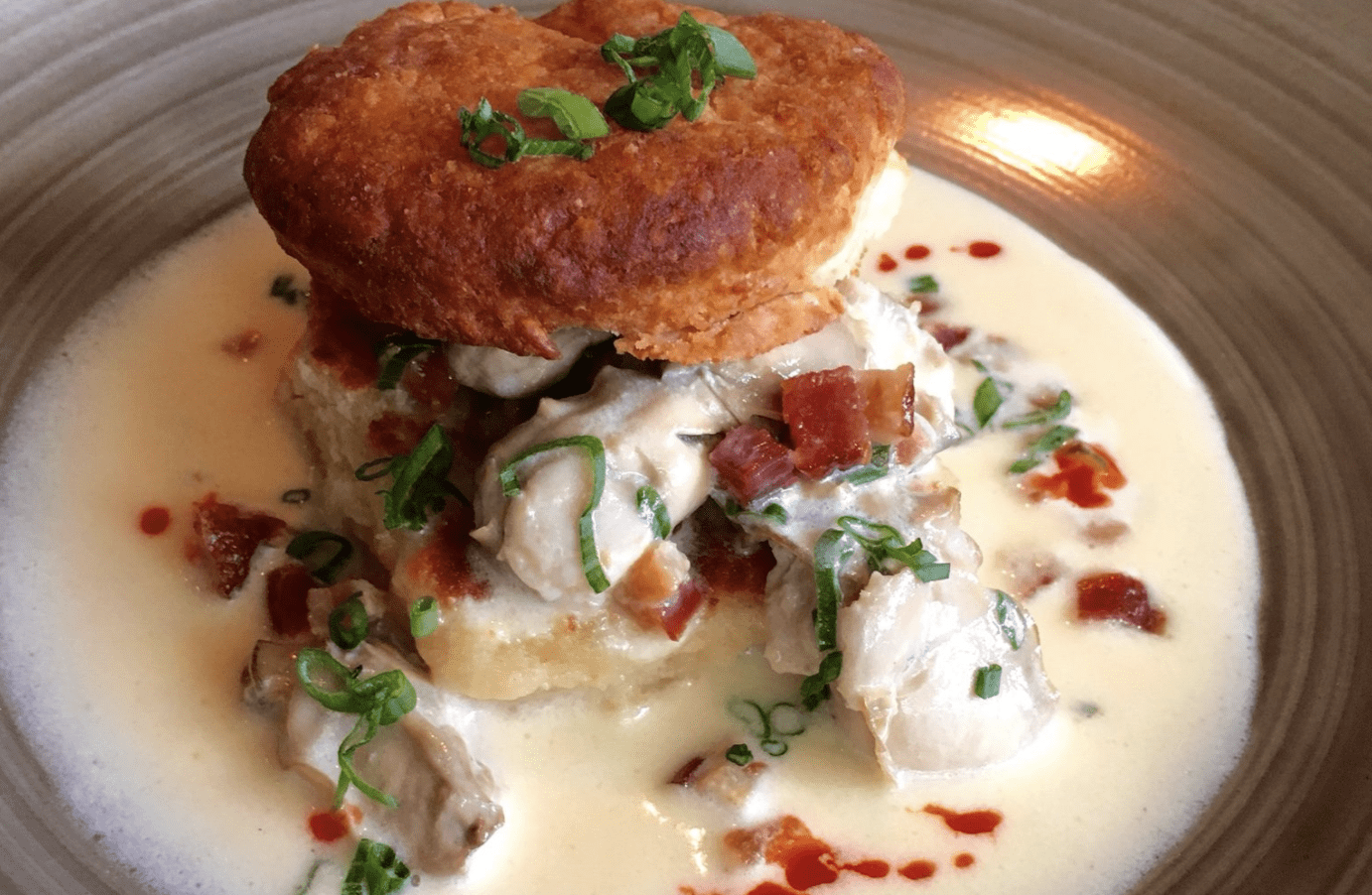 Traditional Oyster Stew and Biscuits