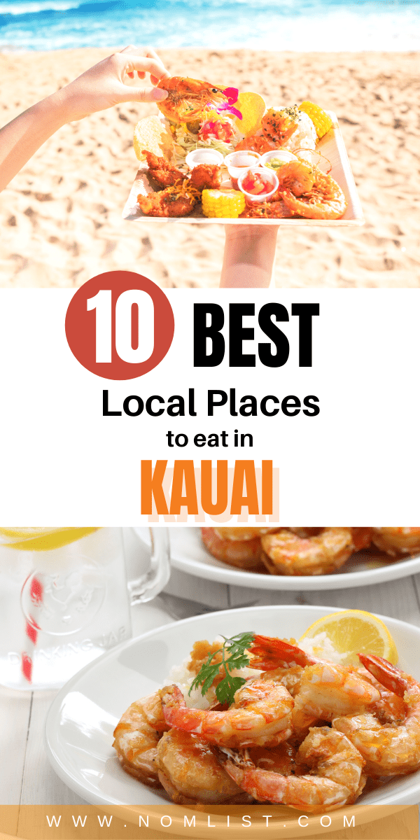 Many of these local restaurants below feature delicious plate lunches! Here is our list of the 11 top local places to eat in Kauai!  #kauai #hawaii #hawaiianfood #hawaiianrestaurants #restaurants #travelfood #travel #hawaiianrecipes